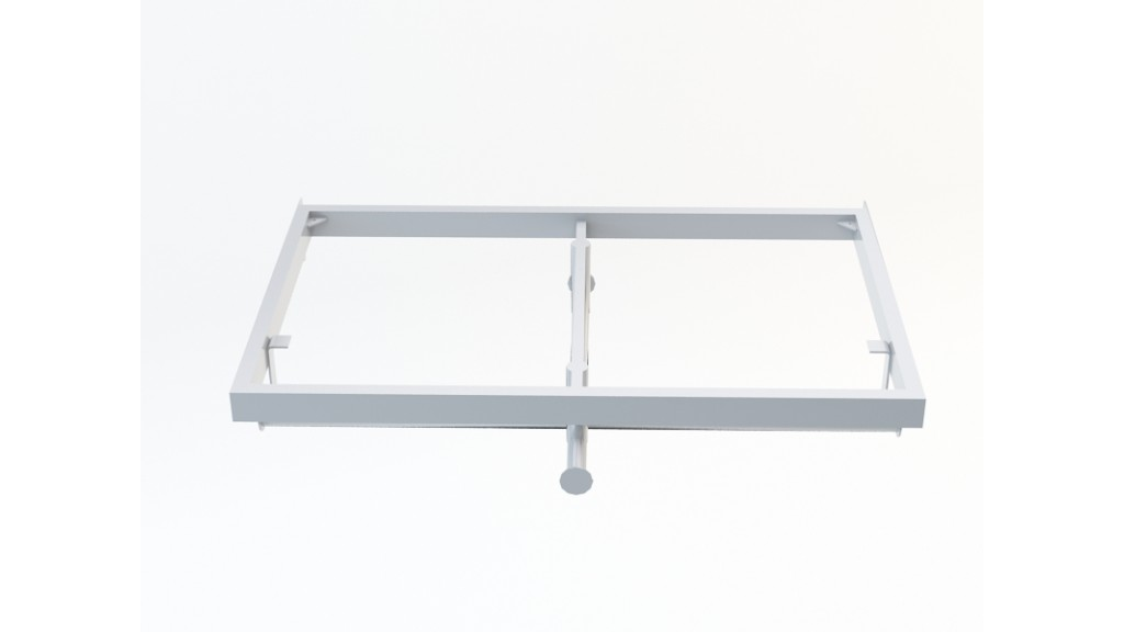 U Type Hanging Arm With Shelf, 10x30mm, 60x30cm, Chrome